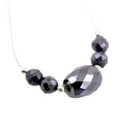 Black Diamond Beads - 4 Round and 1 Drum Shaped. 12 ct.AAA.Certified.