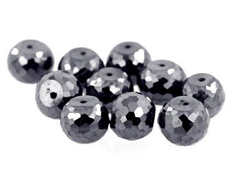AAA Quality Certified 12 mm Black Diamond Beads 5 pcs - ZeeDiamonds