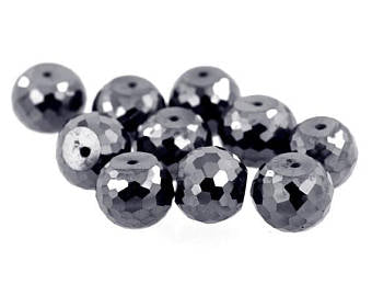 AAA Quality 100% Certified 12 mm Black Diamond Beads, Great Shine 5 Pcs - ZeeDiamonds