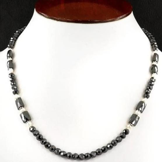 4 mm Black Diamond Beads Necklace With Pipe Shaped Beads 8x4 mm - ZeeDiamonds