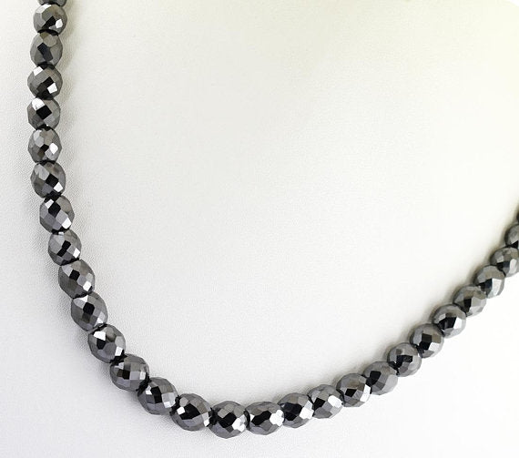 "8 mm Black Diamond Beads Necklace-Great Shine & Luster! 18"" to 24"" options. - ZeeDiamonds"