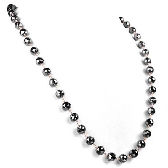Derek Jeter 6mm AAA Quality Faceted Black Diamond Necklace.Certified.Full of Fire & Bling! - ZeeDiamonds