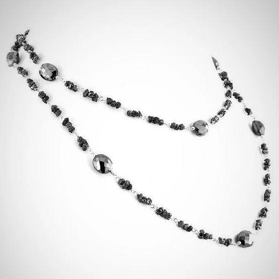 Rough Black Diamond Necklace In Chain Style-Exclusive & Designer style. - ZeeDiamonds