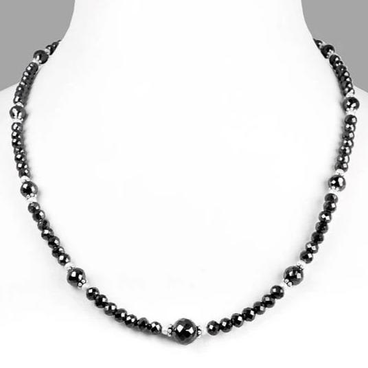 6 mm Black Diamond Faceted Beads Necklace With 8 mm Beads - ZeeDiamonds