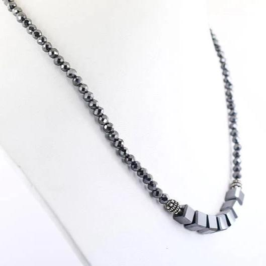 4 mm Round And Fancy Cube Shape black Diamond Necklace - ZeeDiamonds