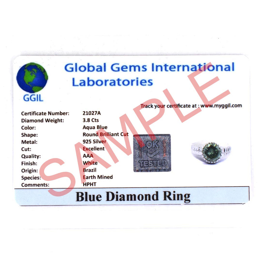 3.10 Ct Certified Greenish Blue Diamond Solitaire Ring in White Gold Finish - ZeeDiamonds