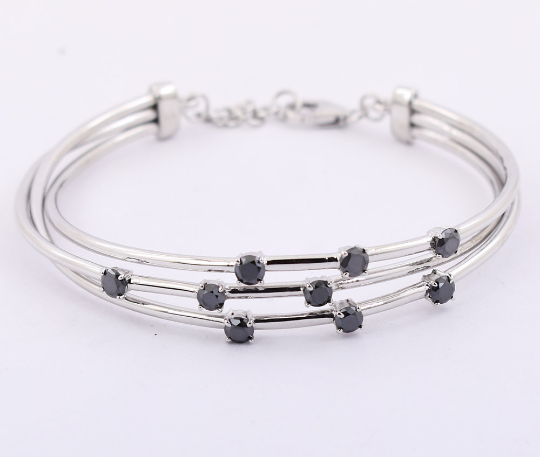 1.8 Carats Black Diamond Beads, Bangle Bracelet In Sterling Silver, Gift For Wife - ZeeDiamonds