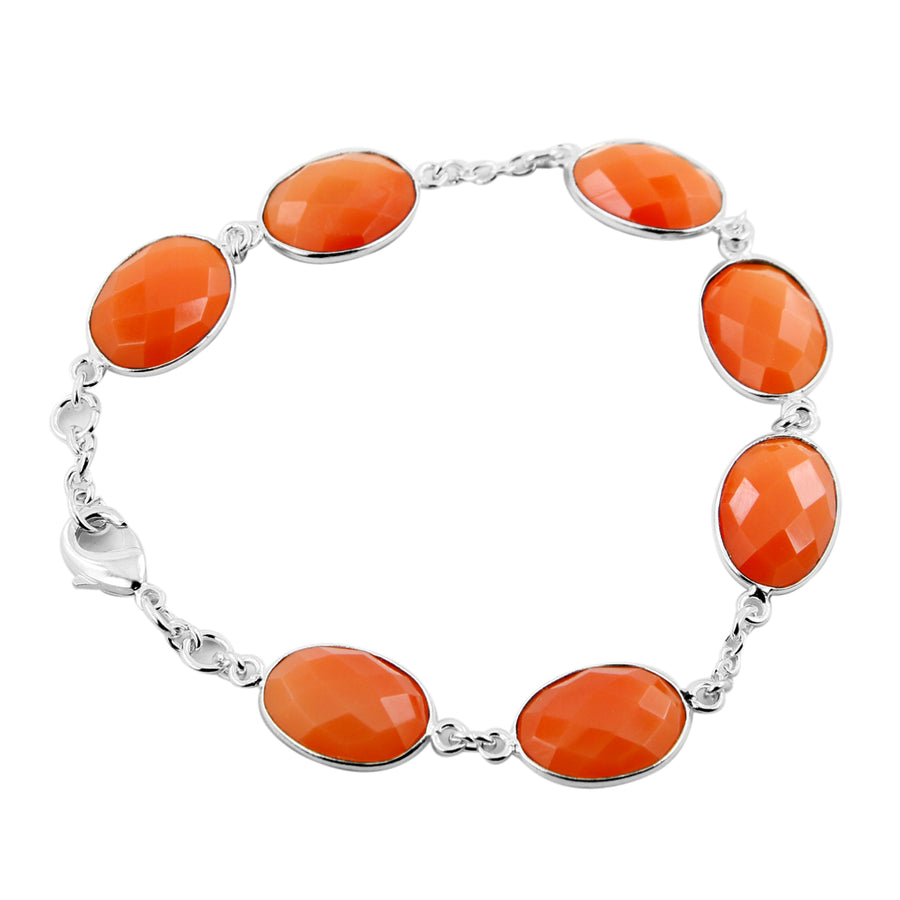 100% Certified Carnelian Gemstone Silver Chain Bracelet For Gift - ZeeDiamonds