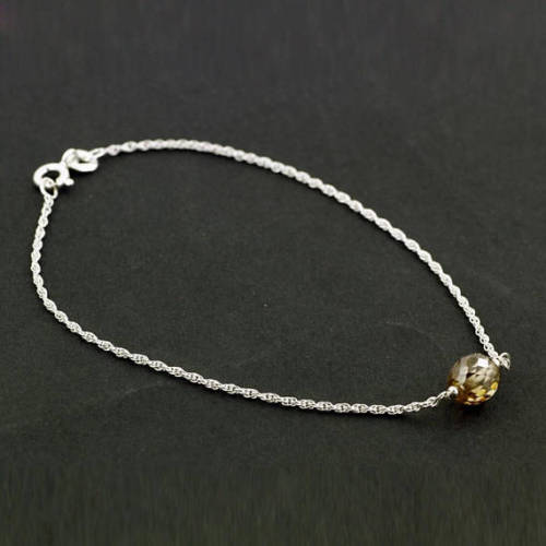 8.2 mm Champagne Diamond Sterling Silver Chain Bracelet - ZeeDiamonds