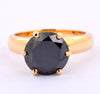 2.50 Cts Round Cut Black Diamond Ring In Yellow Gold Finish - ZeeDiamonds