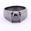 1 to 3 Ct Round Black Diamond unisex Ring In 925 Silver - ZeeDiamonds