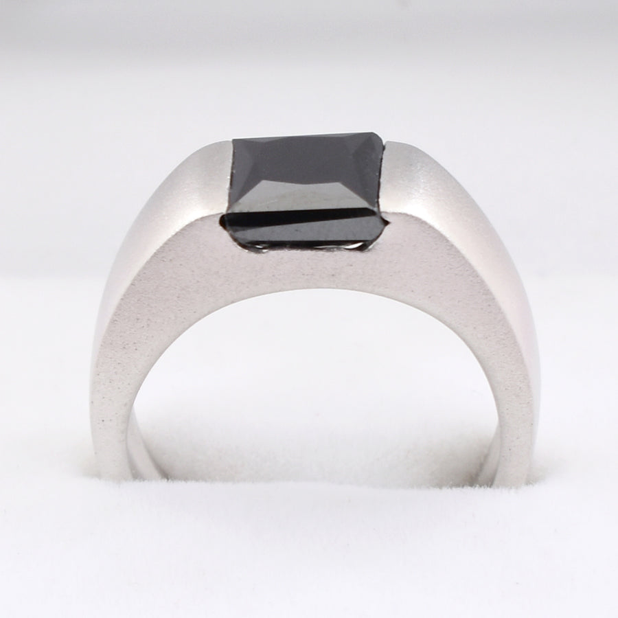 2 Ct Black Diamond Ring in Bezel Setting, 100% Certified- Great Shine & Luster - ZeeDiamonds