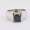 2 Carats Round Brilliant Cut Black Diamond Band Ring in White Gold - ZeeDiamonds