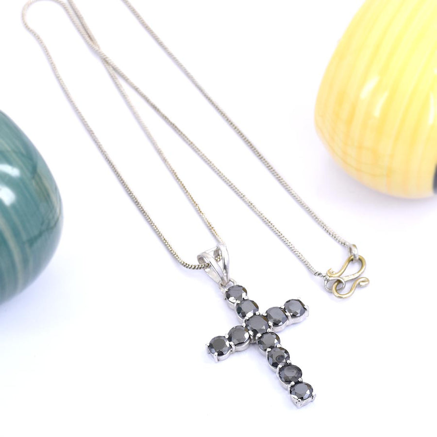 0.50 Ct Each, Certified Black Diamond Cross Pendant In White Gold Finish - ZeeDiamonds