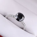 2.35 Ct Jet Black Diamond Solitaire Fancy Ring With White Diamond Accents - ZeeDiamonds