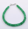 Emerald Gemstone Bracelet in 925 Silver, White Gold Clasp - ZeeDiamonds