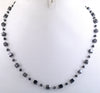 "4 mm Certified 18"" Black Diamond Beads Necklace In 925 Silver - ZeeDiamonds"