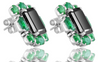 2ct Emerald Cut Black Diamond Studs with Colombian Emeralds in Sterling Silver - ZeeDiamonds