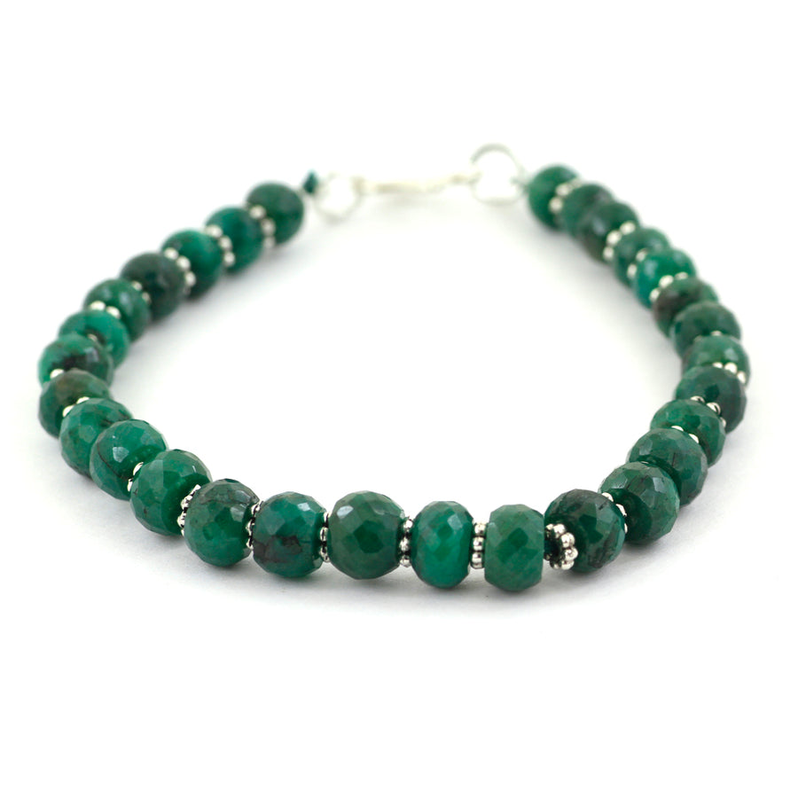 Certified 8 mm Green Emerald Gemstone Beads Bracelet - ZeeDiamonds