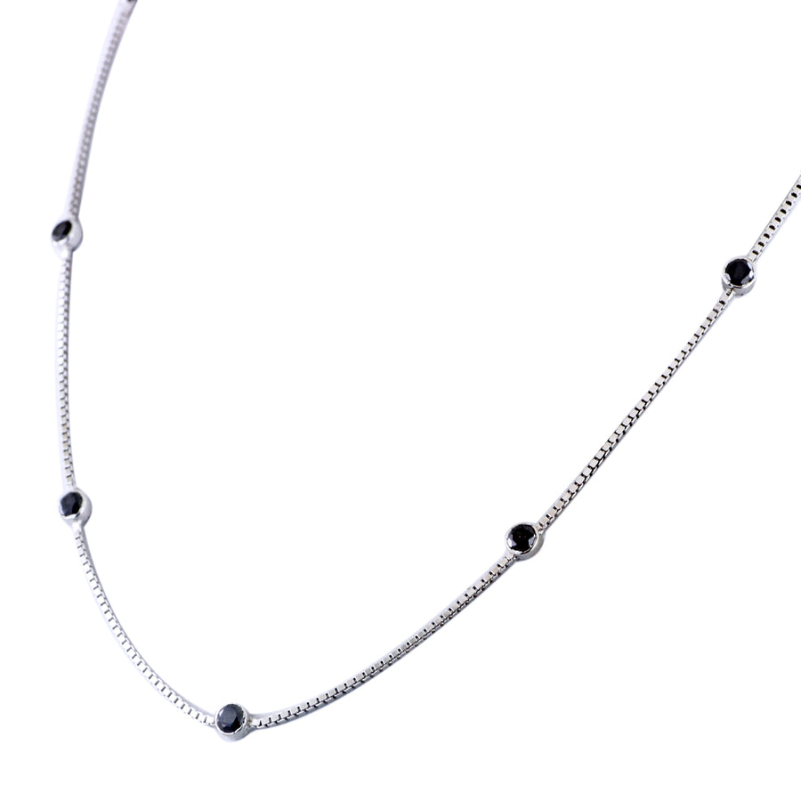 Single Row Black Diamond Chain Necklace in 925 Sterling Silver