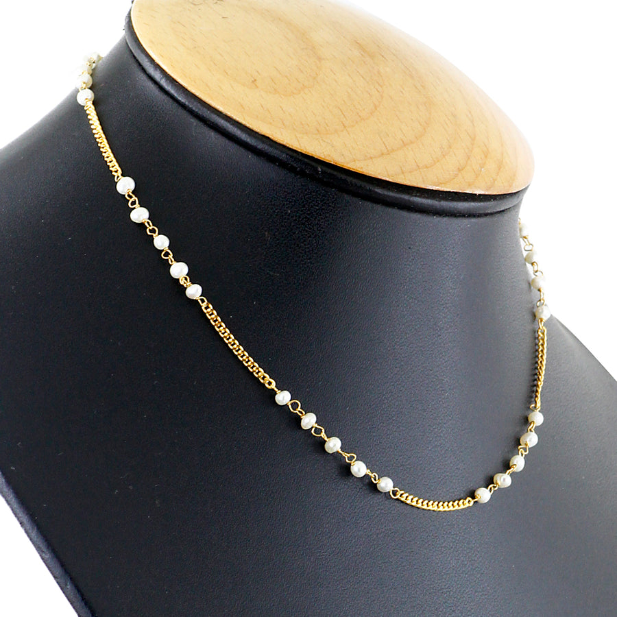 18 kt Yellow Gold Chain Necklace With Pearls - ZeeDiamonds