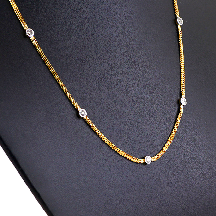 White Diamonds Chain Necklace- 9 Solitaires. - ZeeDiamonds