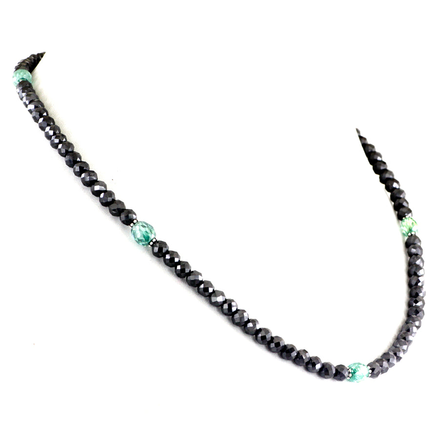 AAA Quality 4 mm Black & Blue Diamond Necklace in Sterling Silver - ZeeDiamonds