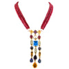 3 - 4 mm Three Row Multi Colors Gemstone Beads Wedding Necklace For Women's - ZeeDiamonds