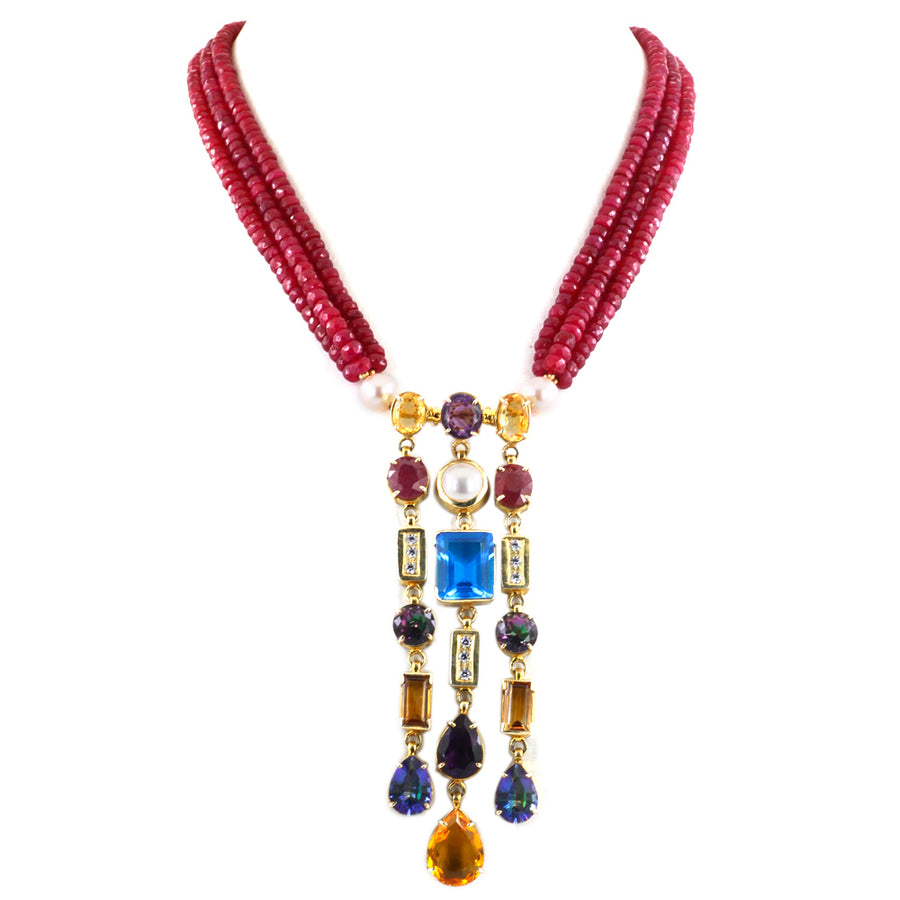3 Row Ruby Wedding Necklace, with Rubies, Mystic Topaz, Blue Topaz, Citrine - ZeeDiamonds