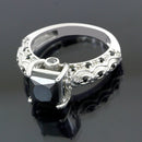 1-2.5 Ct Princess Cut Black Diamond Solitaire Engagement Ring - ZeeDiamonds