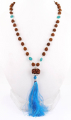 108 beads Rudraksha & Turquoise Gemstone Connector Necklace - ZeeDiamonds