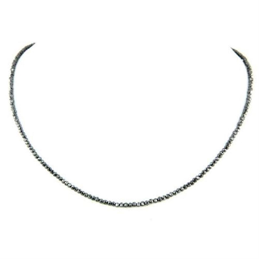 3 mm AAA Quality Black Diamond Necklace, Excellent Cut,  Free Studs - ZeeDiamonds