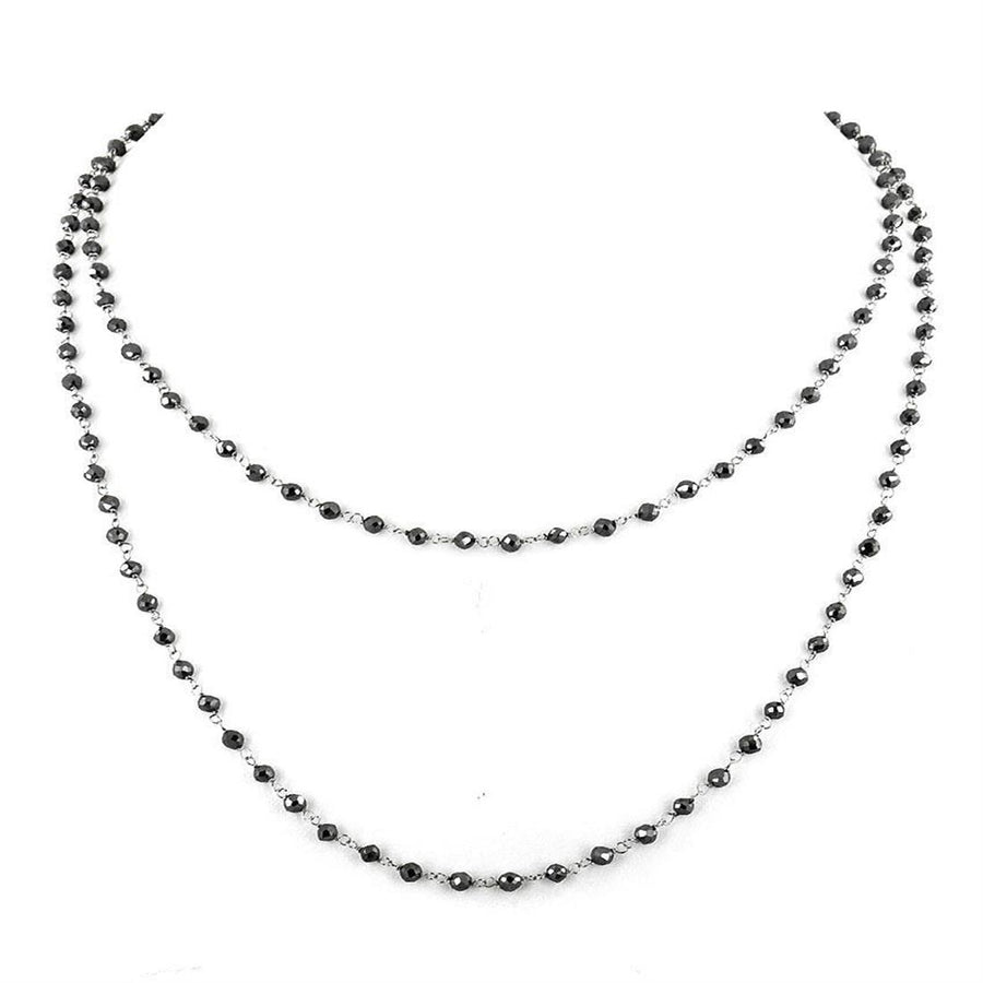 5 mm Black Diamond bead Chain Style Necklace in 925 Sterling Silver - ZeeDiamonds