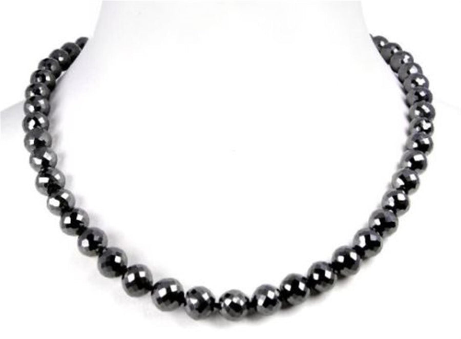 8 mm Round Faceted Conflict free Black diamond beads Necklace,