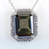 10.45 Ct Certified Emerald Cut Blue Diamond Solitaire Pendant With White Accents, AAA Quality, Great Shine & Luster ! - ZeeDiamonds
