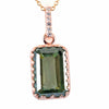 8.00 Ct Certified Emerald Cut Blue Diamond Solitaire Pendant With Rose Gold, AAA Quality, Great Shine & Luster ! - ZeeDiamonds