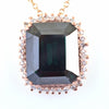 Certified Emerald Cut Blue Diamond Solitaire Pendant With Rose Gold, 11.65 Ct, AAA Quality, Great Brilliance ! - ZeeDiamonds