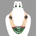 Five Row Pearl and Emerald Multi gemstone Necklace - ZeeDiamonds