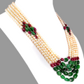 100 % Certified Multi Colors Gemstones, Five Row Designer Necklace For Women's - ZeeDiamonds