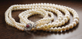 3 Row Pearls Necklace with Gemstone Clasp with Ruby - ZeeDiamonds