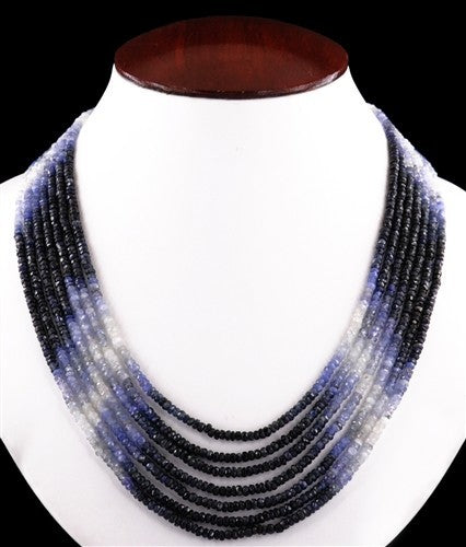 Seven Strand Certified Blue Sapphire Faceted Beaded Necklace - ZeeDiamonds