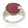 Elegant 5 Ct Ruby Ring With White Diamond Accents - ZeeDiamonds