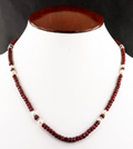 3-4 mm Faceted African Ruby Gemstone Necklace With Pearls - ZeeDiamonds