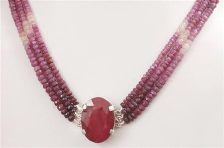 Designer 3 Strand Ruby Beads Necklace In Choker Style - ZeeDiamonds
