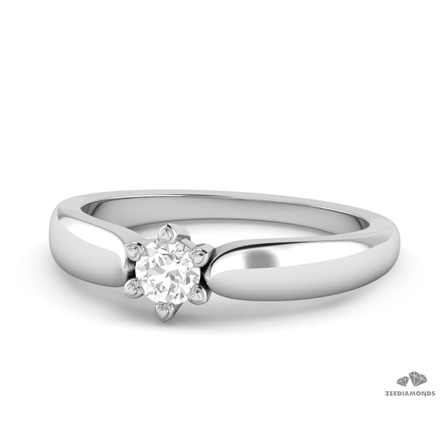 0.28 Ct Finely Crafted White Diamond Solitaire Ring in White Gold - ZeeDiamonds