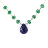 Certified Emerald Gemstone Chain Necklace with Blue Sapphire Drop, AAA Quality, Great Brilliance !