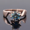 1.00 Ct Blue Diamond Solitaire Ring In Round Brilliant Cut, AAA Quality, Excellent Shine ! - ZeeDiamonds