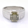 3.00 Ct Off White (Tinge of Blue) Diamond Solitaire Men's Ring In Emerald Cut, AAA Quality, Great Shine & Luster ! Watch Video - ZeeDiamonds