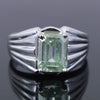 Certified 4.50 Ct Blue Diamond Solitaire Men's Ring In Emerald Cut, AAA Quality, Great Shine & Luster ! Watch Video - ZeeDiamonds