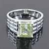 3.50 Ct Blue Diamond Solitaire Men's Ring In Emerald Cut, AAA Quality, Great Shine & Luster ! Watch Video - ZeeDiamonds